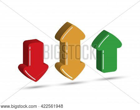A Set Of Colored Three-dimensional Arrows. Simple Design.