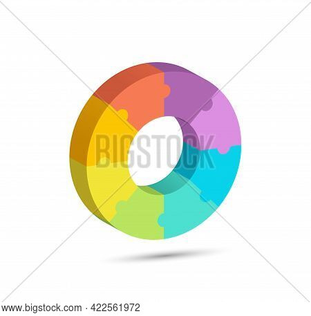 A Three-dimensional Circle Of Puzzle Sectors For Infographic Diagrams And Creative Design. Vector Il