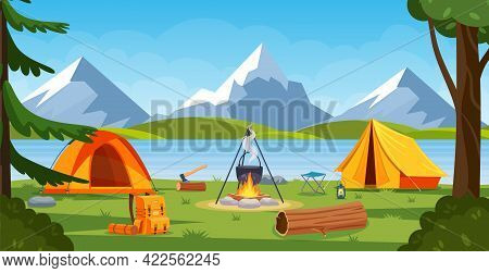 Summer Camp In Forest With Bonfire, Tent, Backpack And Lantern. Cartoon Landscape With Mountain, For