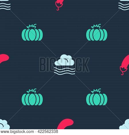 Set Eggplant, Windy Weather And Pumpkin On Seamless Pattern. Vector