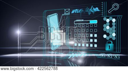 Composition of digital icons over data processing and computer circuit board. global online security, connection, technology and digital interface concept digitally generated image.