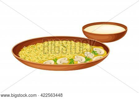 Curry Rice With Mushrooms And Chutney As Indian Dish And Main Course Served On Plate And Garnished W