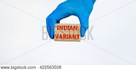 Covid-19 Indian Variant Strain Symbol. Hand In Blue Glove Holds Wooden Blocks, Words 'indian Variant