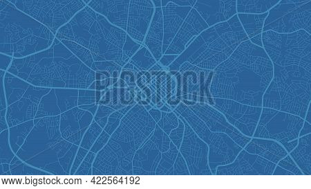 Blue Charlotte City Area Vector Background Map, Streets And Water Cartography Illustration. Widescre