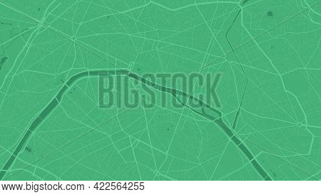 Green Paris City Area Vector Background Map, Streets And Water Cartography Illustration. Widescreen