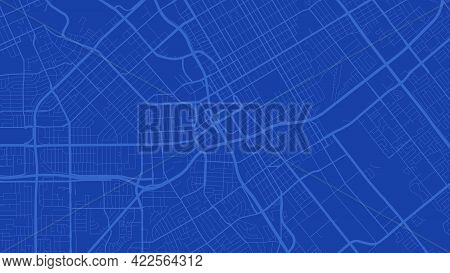 Blue San Jose City Area Vector Background Map, Streets And Water Cartography Illustration. Widescree