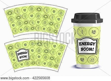 Vector Illustration Of A Label For A Disposable Glass. Beverage Label Design.