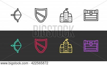 Set Line Medieval Bow And Arrow, Shield, Castle, Fortress And Antique Treasure Chest On Black And Wh