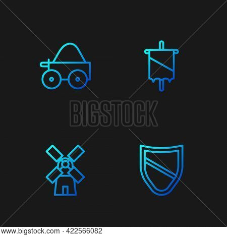 Set Line Shield, Windmill, Wooden Four-wheel Cart And Medieval Flag. Gradient Color Icons. Vector