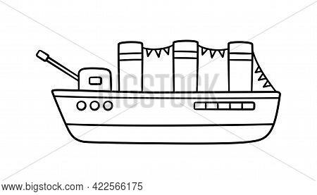 Hand Drawn Battleship. Children Drawing Of A War Ship. Military Cruiser. Vector Illustration Isolate