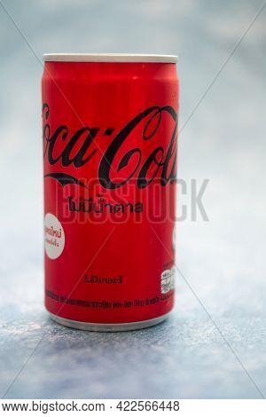Bangkok, Thailand -june 3, 2021 : The New Formula Of Aluminium Mini Can, Coca-cola No Sugar(180ml.)