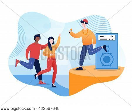 Young Hip Hop Singer Perform On Stage. Concert Of Youth Movement In Pop Music. Flat Abstract Cartoon