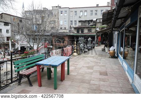 Istanbul, Turkey - March 20, 2021: People Shopping In The Grand Bazaar. The Grand Bazaar Is One Of T