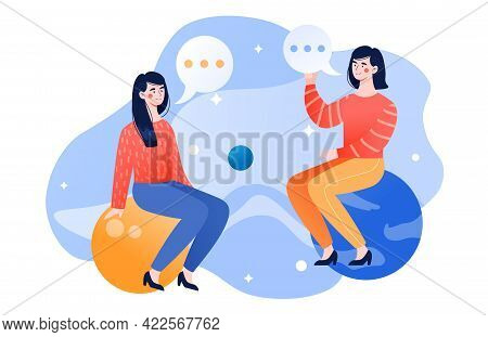 Women Gossiping, Chatting Rumor In Social Media. Talk Show Host Interview Celebrity. Flat Cartoon Ve