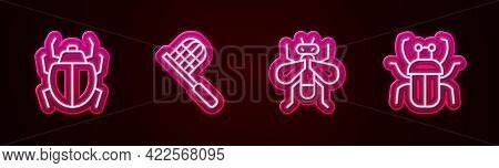Set Line Mite, Butterfly Net, Insect And Stink Bug. Glowing Neon Icon. Vector