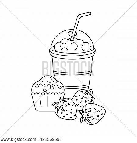 Coloring Book For Kids. Cupcake, Strawberry Berries, Milkshake. Fruits And Drinks. Vector Illustrati