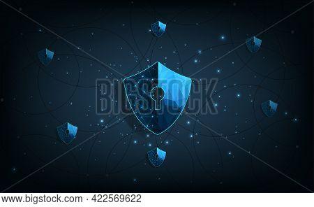 Internet Security Concept.shield Network Symbol On Dark Blue Background.illustrates Cyber Data Secur