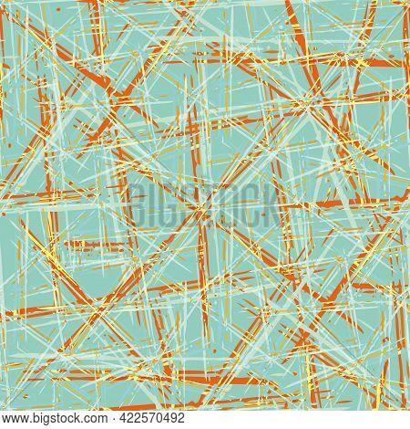 Abstract Vector Weave Irregular Grid. Seamless Pattern Background. Blue Terracotta Orange Painterly
