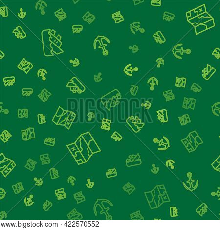 Set Line Sinking Cruise Ship, Folded Map And Anchor On Seamless Pattern. Vector