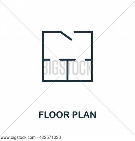 Floor Plan Icon. Monochrome Simple Element From Mall Collection. Creative Floor Plan Icon For Web De