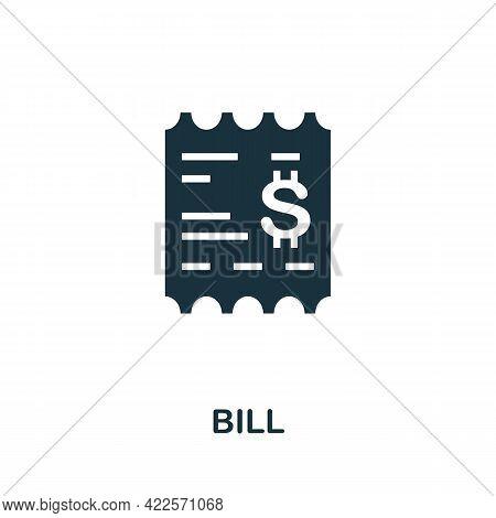 Bill Icon. Monochrome Simple Element From Mall Collection. Creative Bill Icon For Web Design, Templa