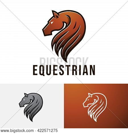 Equestrian Horse Race Beautiful Racehorse Long Hair Logo