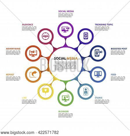 Infographic Social Media Template. Icons In Different Colors. Include Like, Audience, Boosted Post,