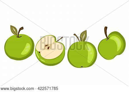 Apple Icon Set Isolated On White Background. Natural Delicious Fresh Ripe Fruit. Template Vector Ill