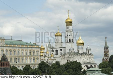 Ensemble Of Ivan Great Bell Tower And Archangel Cathedral In Moscow Kremlin