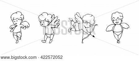 Set Of Cupids In Cartoon Sketch Style Isolated On The Background. Simple Collection Of Doodles With