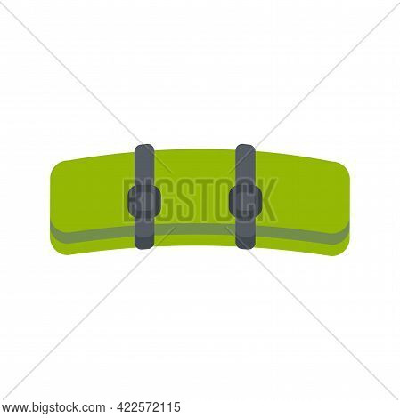 Green Raincoat Tent Rolled Up Into Roll. Camping And Hiking Equipment. Flat Vector Illustration Isol
