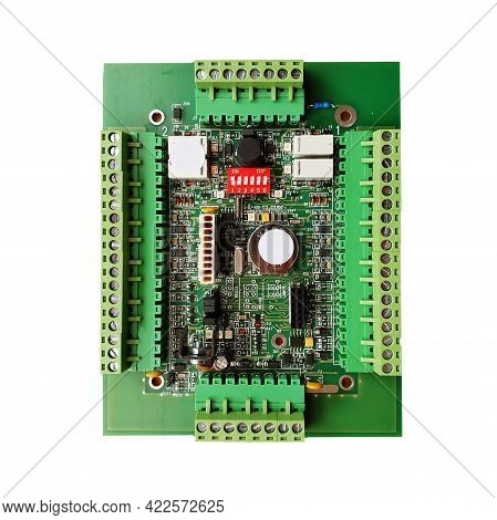 Green Circuit Board Isolated On White Background. A System Electronic Motherboard With Screw Termina