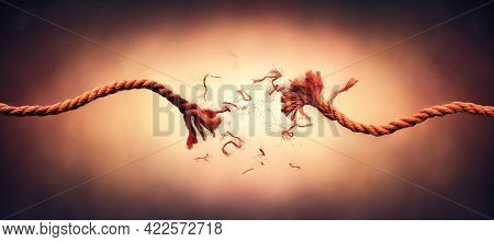 Broken Rope - Failure And Break Concept - This Image Contain Motion Blur With Stroboscopic Effect