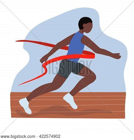 A Black African American Athlete. A Fast Runner Crosses The Finish Line. Winner Of A Running Competi