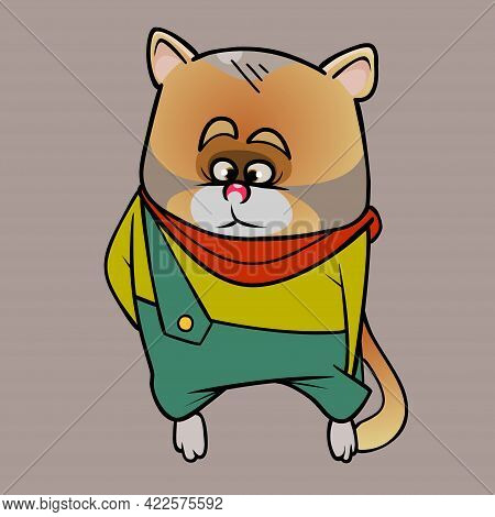 Sad Cartoon Ginger Cat In Overalls And A Scarf Looks Thoughtfully