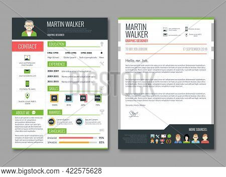 Cv Layout Template With Candidate Education And Job Experience Resume Information Vector Illustratio