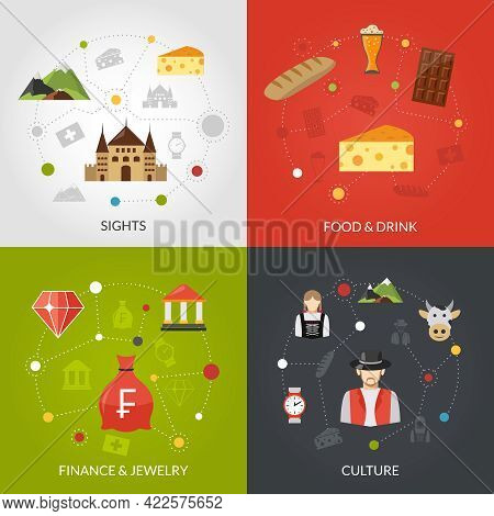 Switzerland Design Concept Set With Sights Food And Culture Flat Icons Isolated Vector Illustration