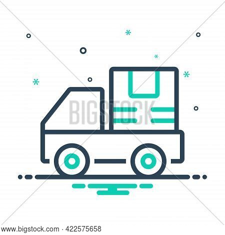 Mix Icon For Shipping Delivery Distribution Dealing Van Auto Deliver Service Parcel Container Cargo