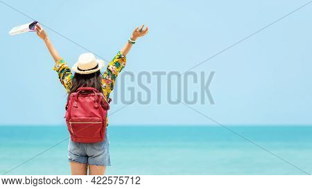 Happy Traveler And Tourism Women Travel Summer On The Beach. Asia People Holding Map And Raise Arm