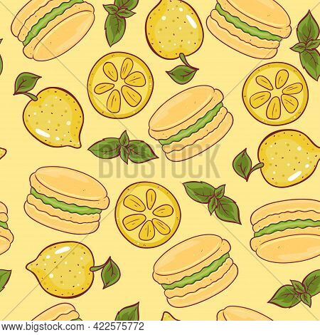 Seamless Pattern With Lemon Macaroons. Vector Image.