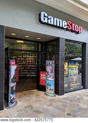Waikiki - May 10, 2019:  Entrance To Gamestop Store With Ads For Borderland 3 And Ninja Warrior On D