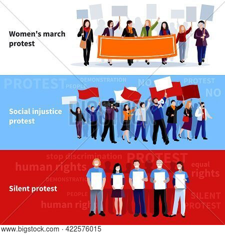 Demonstration Womens March Social Injustice And Silent Protest People With Megaphones Placards And F