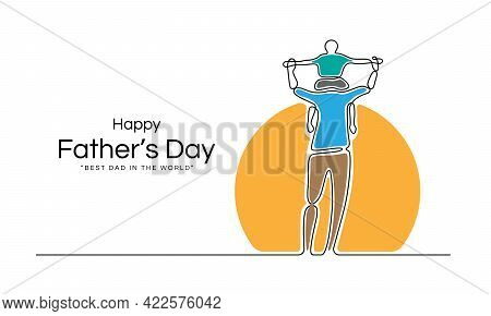 Happy Father Day - Abstract Line Drawing Son Is Riding His Father Is Neck At The Sun Vector Design