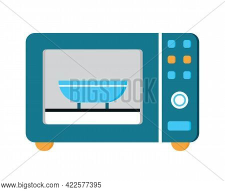 Microwave Oven Flat Icon Vector. Kitchen Small Appliances Sign.