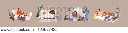 Scenes With Happy People And Cats Relaxing At Home. Set Of Men And Women Resting On Sofas And Beds W