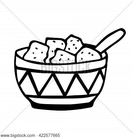 A Bowl Of Lump Sugar And A Spoon. Food Cookies Sweets. Cup With Ethnic Geometric Pattern. Hand Drawn