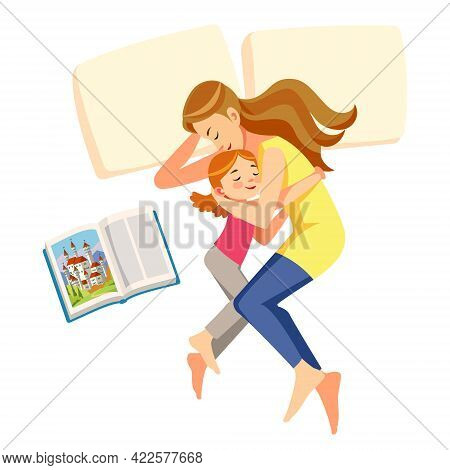 I Love Mom. Mother Put Her Daughter To Sleep. Concept Care. Motherhood Child-rearing. Mother S Day H