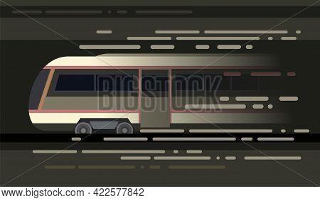 High-speed Train Suburban And Urban Underground Transport. Symbolic Image. Railway With A Locomotive