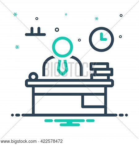 Mix Icon For Workplace Working Office Enterprise Institute  Book Desk Table Accountant Businessman C