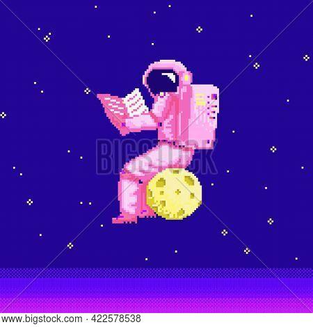 Pixel Art Astronaut. Spaceman 8 Bit Objects. Space Art, Digital Icons. Cosmonaut On The Moon. Retro